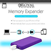 Royal Guard Two-in-One Portable iPhone and iPad Memory Expander and External Battery With 64 GB - Purple