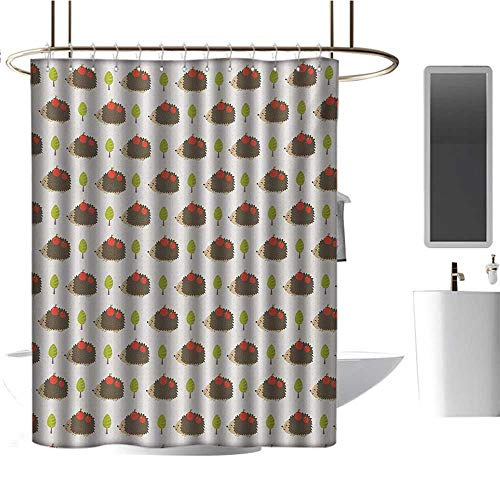 Qenuan Home Decor Shower Curtain by Hedgehog,Porcupine Animals with Big Smiles Carrying Apples on Polka Dot Backdrop with Trees,Multicolor,100% Polyester Fabric Bathroom Drapes 60