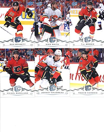 2018-19 Upper Deck Series 1 and 2 Hockey Complete Calgary Flames Team Set of 13 Cards: Travis Hamonic(#26), Mike Smith(#27), Sam Bennett(#28), Mikael Backlund(#29), T.J. Brodie(#30), Johnny Gaudreau(#31), Michael Frolik(#276), Sean Monahan(#277), Matthew Tkachuk(#278), James Neal(#279), Noah Hanifin(#280), Mark Giordano(#281), Elias Lindholm(#282)