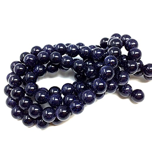 - Chengmu 8mm Blue Sand Goldstone Beads Semi Gem Round Loose Beads for Jewelry Making for Bracelet Necklace