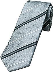 Zarrano Skinny Tie 100% Silk Woven Silver/Charcoal Herrigbone Stripe Tie