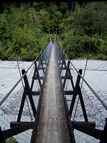 Home Comforts Canvas Print Bridge River Risk Cross Narrow Suspension Bridge Vivid Imagery Stretched Canvas 32 x ()