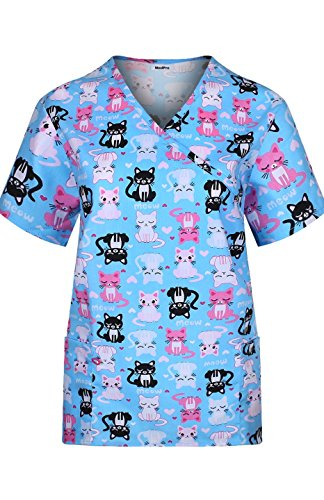 MedPro Women's Medical Scrub Set Cat Print Wrap Top and Cargo Pants Blue Pink XL by MedPro (Image #2)