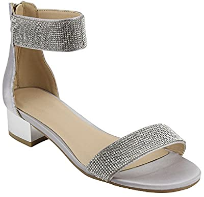 Cambridge Select Women's Open Toe Single Band Ankle Strappy Rhinestone Crystal Chunky Block Low Mid Heel Dress Sandal