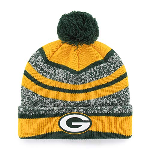 Green Knit Beanie Cap - NFL Green Bay Packers Huset OTS Cuff Knit Cap with Pom, Dark Green, One Size