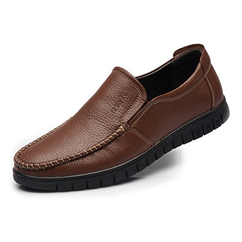uomo mocassino piatto pelle con suola in pelle scarpe Dark Bn Xiaojuan on per 5 in 6 shoes vera da slip Brown parte superiore morbida UK uomo qfZx6xtwA