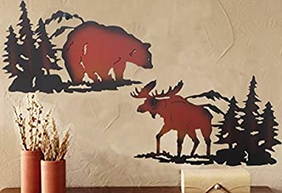 Cabin Ironworks Moose Decor and Bear Decor Metal Wall Art Set (2 Pieces Included - 1 Bear and 1 Moose) - Lake House Cabin Decoration