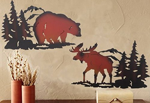 Cabin Ironworks Moose Decor and Bear Decor Metal Wall Art Set (2 Pieces Included - 1 Bear and 1 Moose) - Lake House Cabin - Moose Hanging Wall