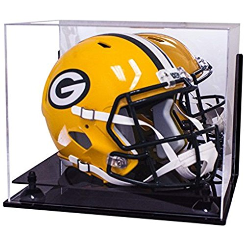 Better Display Cases Deluxe Acrylic Football Helmet Display Case with Black Risers Mirror and Wall Mount (Black Acrylic Football Display Case)