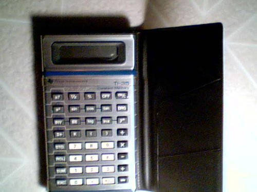 Texas Instruments Electronic Calculator Texas Instruments TI-35 Scientific Calculator Constant Memory Battery Operated w/Calculator Case (Silver/Chrome Color)