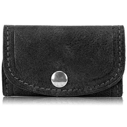 Genuine American Buffalo Bison Leather Key Holder Case (Black)