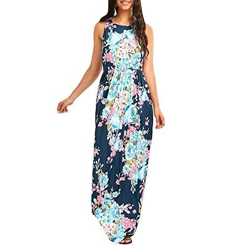 (Sherro Women Sleeveless Boho Maxi Dress Beach Floral Print Evening Party Long Dress)