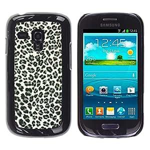 TECHCASE**Cubierta de la caja de protección la piel dura para el ** Samsung Galaxy S3 MINI NOT REGULAR! I8190 I8190N ** Leopard Spots Pattern Black White Fur Bling Posh