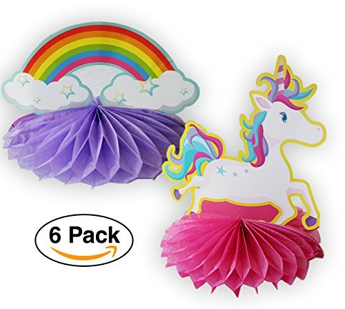 UNICORN & Rainbow Beautiful table centerpiece 6 pack - 3 of each design]()