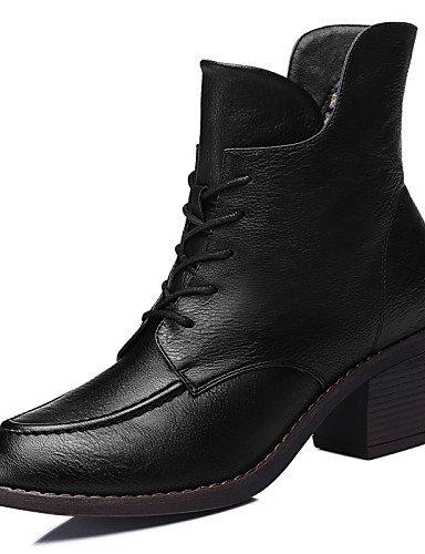 XZZ    Damenschuhe - Stiefel - Büro   Kleid   Lässig - Kunststoff - Blockabsatz - Armeestiefel   Motorradstiefel - Schwarz   Beige 03155a