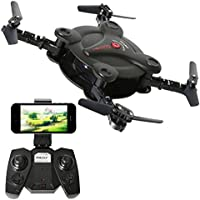 2.4GHz Six Gyro 3D Foldable Arm Drone FPV WIFI Real-Time Video Remote Controlled Rechargeable Mini Quadcopter Aircraft with HD Camera(Black-FQ17W)