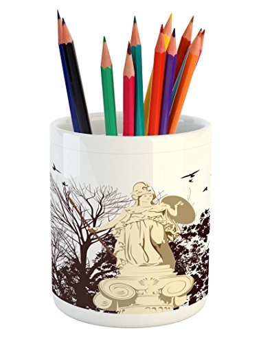 (Printawe Vintage Pencil Pen Holder, Greek Athena Statue with Tree and Bird Silhouettes Sculpture Architecture, Printed Ceramic Pencil Pen Holder for Desk Office Accessory, Dark Brown and)