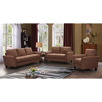 Harper\u0026Bright Designs Sofa Set 3-Piece Sofa Loveseat Chair Single Chair(3-Seat