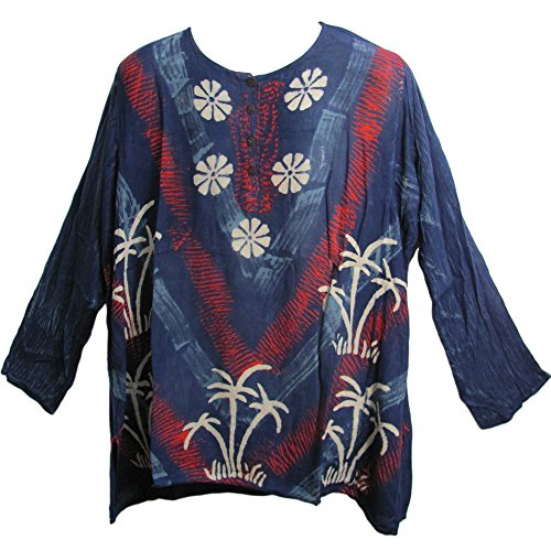Mens Bohemian Indian Cotton Designer Kurta Tunic Block Print (XL, Navy Blue Floral)