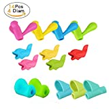 Bomach Pencil Writing Grips Tools Pen Silicone Grip Holder Training Kit Soft Handwriting Aid Posture Correction Utensils for Kids with Comfortable Ergonomic Writing Assorted Colors (14 Pack)