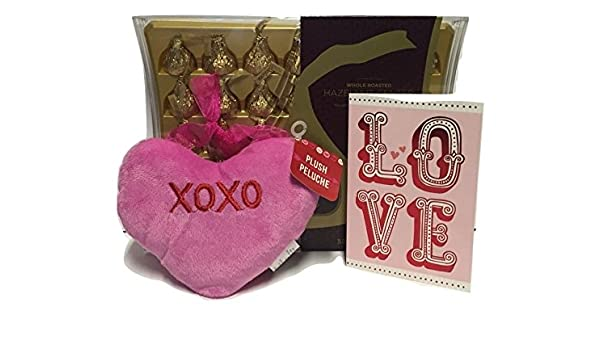 Amazon.com : Valentines Day Bundle with One Box Hersheys Hazelnut Chocolate Kisses Deluxe (35 Ct), One Pink Plush 6