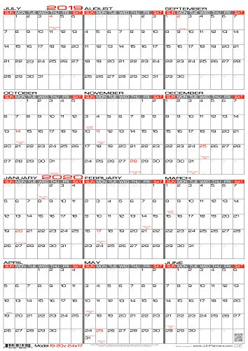 "JJH Planners - Laminated - 24"" X 17"" Medium Academic 2019-2020 Wall Calendar - Vertical 12 Month Yearly Annual Planner (19-20v-24x17)"