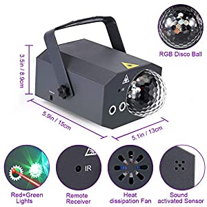 Litake Party Lights + Disco Ball 2 in 1 Dj Disco Stage Lights LED Projector Strobe Light, Sound Activated with Remote for Party Birthday Wedding Dance Club Holiday Show Home Karaoke Decor (Color: Rgb + Red & Green)