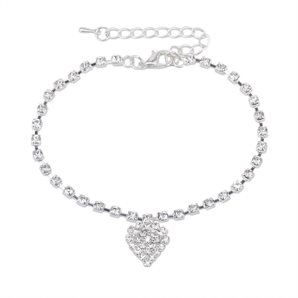 Silver Love Heart Pendant Anklet Shining Crystal Chain Ankle Bracelet for Girls Gift MISSU JEWELLRY
