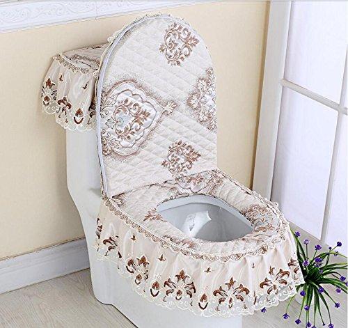 HQQ Toilettenmatte Anti-Rutsch-Matte Bad dreiteilig WC-Sitz dreiteilige Reißverschluss WC-Sitz Wassertank Abdeckung Spitze (Farbe   E)
