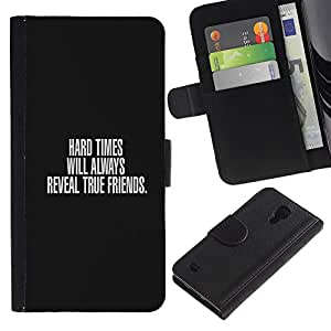 """JackGot ( Tiempos difíciles y Verdaderos Amigos"""" ) Samsung Galaxy S4 IV I9500 la tarjeta de Crédito Slots PU Funda de cuero Monedero caso cubierta de piel"""
