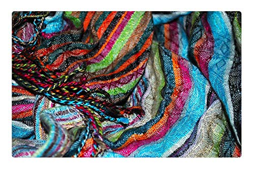 Tree26 Indoor Floor Rug/Mat (23.6 x 15.7 Inch) - Colorful Texture Scarf Pattern Stripes Color