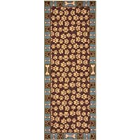 Pet Paw and Bone Design Brown Aqua Blue Printed Slip Resistant Rubber Back Latex Runner Rug (Aqua Blue, 20' x 59')