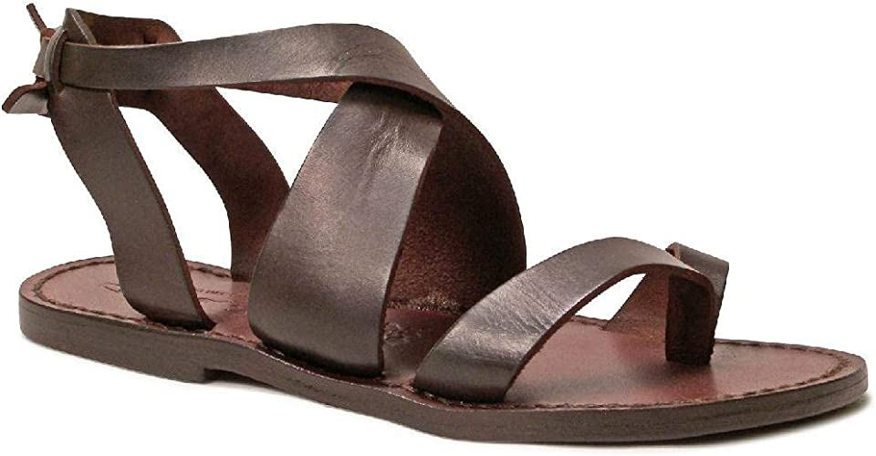 Womens strappy leather slave sandals Handmade in Italy in dark brown cuir
