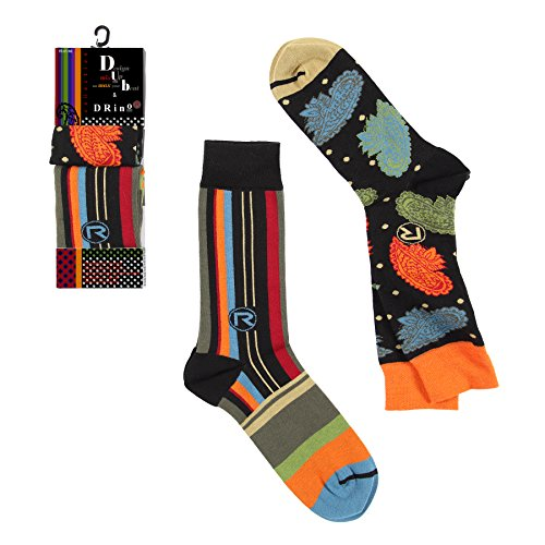 Dub & Drino France Men's Mix & Match Crew Socks, 2 Pairs, Stripes and Flowers, US 8/12 (FR 41/46), UK (7/11) ()