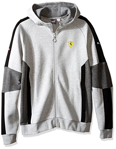 (PUMA Men's Scuderia Ferrari Hooded Sweat Jacket, Light Gray Heather, Medium)