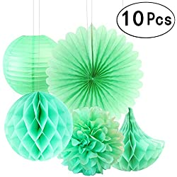 Summer Mint Green Teal Blue Party Hanging Paper Fans Tissue Paper Flowers Decorations Hawaiian Luau Ceiling Hangings Baby Shower Wedding Party Decorations, 10pc