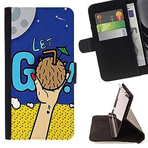 King Case - FOR Apple Iphone 4 / 4S - Don??t neglect dreams - Prima caja de la PU billetera de cuero con ranuras para tarjetas, efectivo Compartimiento desmontable y correa para la mu?eca