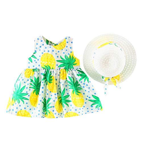 2 Piece Toddler Infant Summer Outfits Baby Girls Fruit Floral Print Princess Dress + Bowknot Wide Brim Sun Hat Sets (Green A, 12-18 Months) -