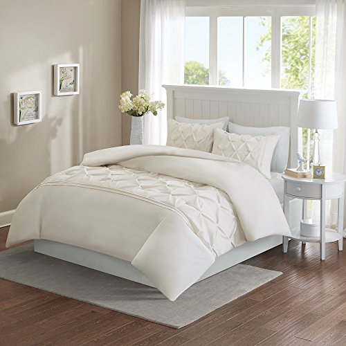 Comfort Spaces Full/Queen Duvet Cover - Cavoy - Ivory Fashion Bedding Set 3 Pieces Includ [ 1 Cover For Duvet, 2 Shams ] Duvet Sets With Corner Ties - Ultra ()