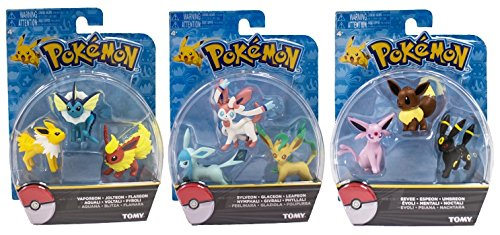 Official Packaged Pokemon Eevee Eeveelutions 9 Pcs. Exclusive Figure Set Includes: Vaporeon , Jolteon ,Flareon , Sylveon , Glaceon , Leafeon , Eevee , Espeon & Umbreon - Exclusive Figure Set