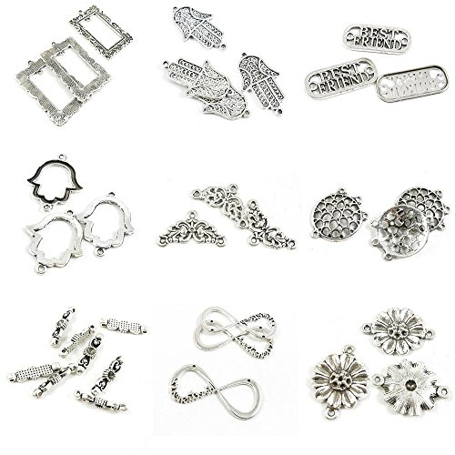 (33 Pieces Antique Silver Tone Jewelry Making Charms Sunflower Connector 8 Shaped Infinity Flower Round End Separator Bars Tulip Best Friend Tag Signs Hamsa Hand of Fatima Rectangle)