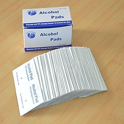 MASUNN 100Pcs Antiphlogosis Alcohol Isopropílico Torunda Almohadillas Pieza Toallita Antiséptica Limpieza Cuidado De La Piel