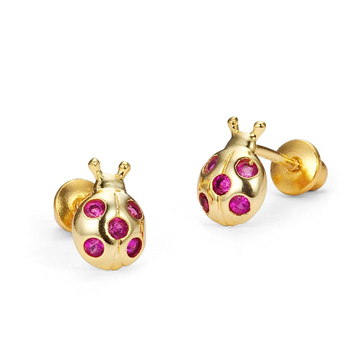 Amazon.com: 14k Gold Plated Brass Lady Bug Cubic Zirconia ...