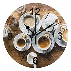 Double Joy Wall Clock Round Coffee Foam Cup Meal Saucer Ceramic 10 Inch Diameter Silent Decorative for Home Office Kitchen Bedroom