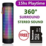 (US) MUSIC ANGEL ® Portable Wireless Bluetooth Speakers 4800mAh Rechargeable Battery for 15 Hours Playtime Bluetooth Speaker Five LED Display Mode Powerful DSP Sound 4.0 Technology with Build in Microphone for Indoor/Outdoor/Shower Usage