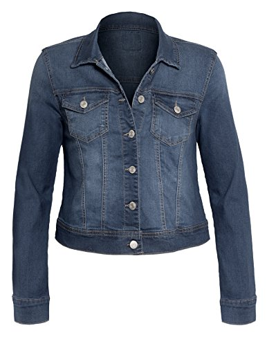 Women's Button Down Long Sleeve Casual Plus Size Classic Outerwear Denim Jacket, 90017_Dusty Blue, XXX-Large