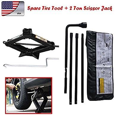 Wheel Nut Wrench Kit with 4 Piece Car Repair Tools Iron Fits Chevrolet Silversado GMC Sirerra + 2 Ton Universal Scissor Jack