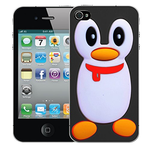 Mobile Case Mate iPhone 4 Silicone Coque couverture case cover Pare-chocs + STYLET - Black Penguin pattern (SILICON)