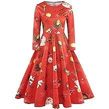 Women Christmas Dress, Chaofanjiancai Women's Long Sleeve Crewneck Casual Flared Party Dress