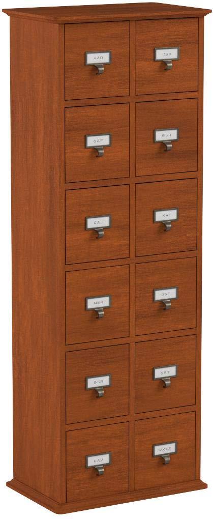 Leslie Dame CD-228W Solid Oak Library Card File Media Cabinet, 12 Drawers, Walnut by Leslie Dame Enterprises